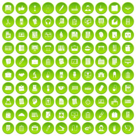 100 office icons set green circle Illustration
