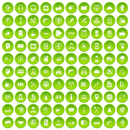 100 support icons set green circle