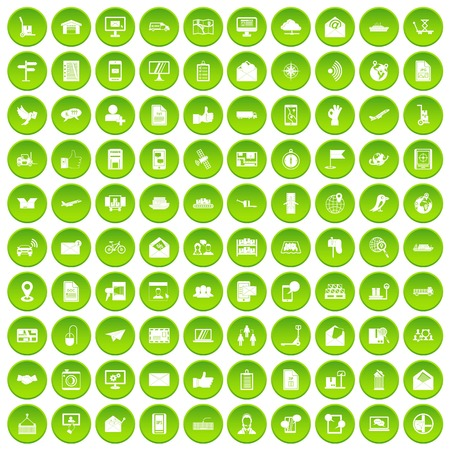 100 post and mail icons set green circle