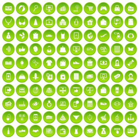 100 online shopping icons set green circle