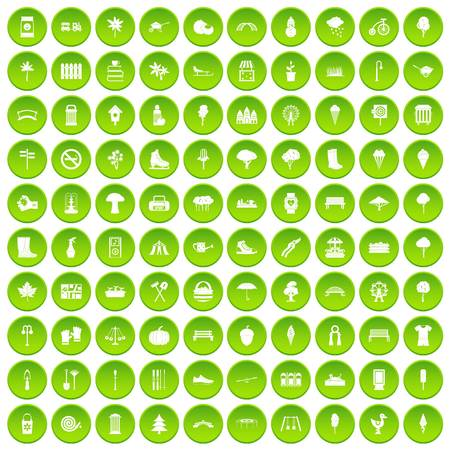 100 park icons set green circle