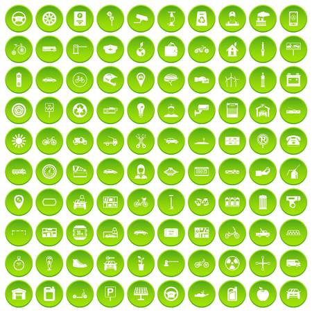 100 parking icons set green circle Illustration