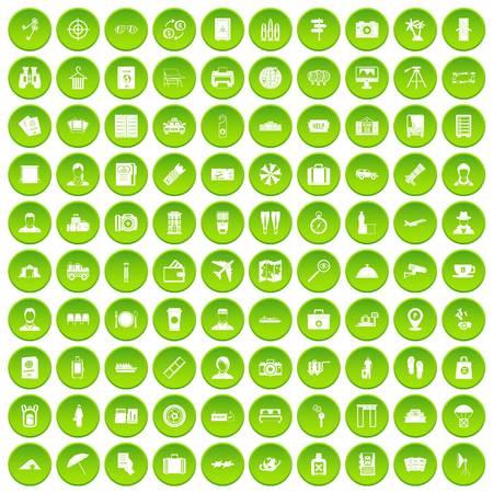 100 passport icons set green circle