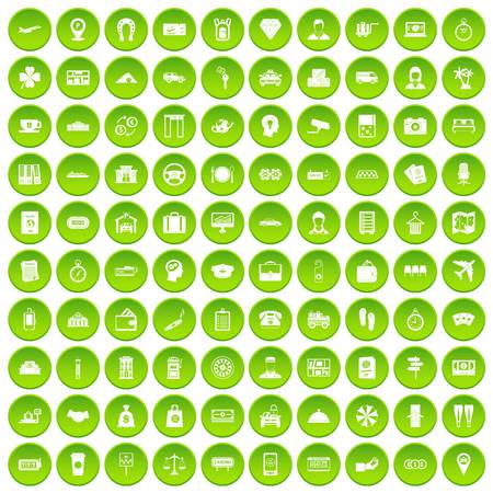 100 paying money icons set green circle