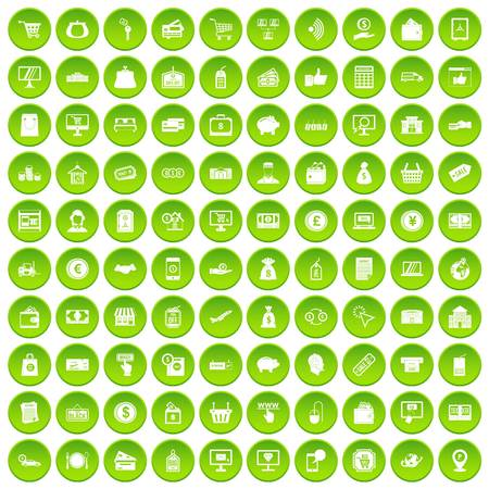 100 payment icons set green circle