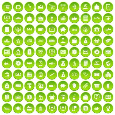 100 payment icons set green circle