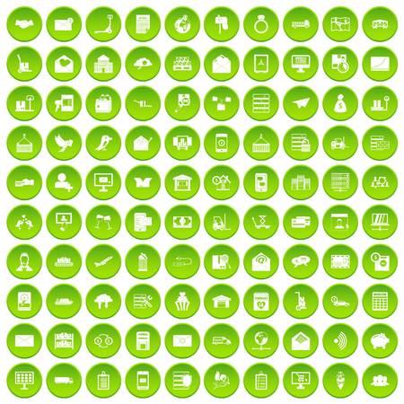100 postal service icons set green circle
