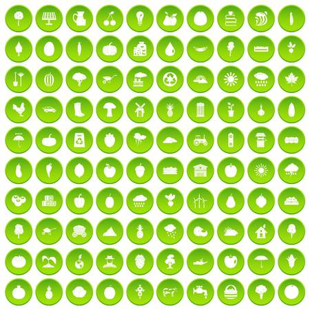 100 productiveness icons set green circle