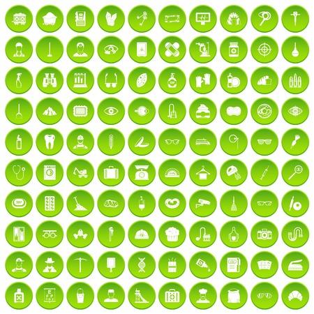 100 profession icons set green circle