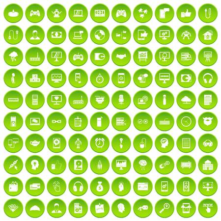 100 programmer icons set green circle isolated on white background vector illustration Illustration