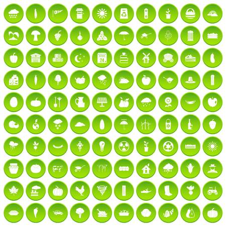 100 pumpkin icons set green circle isolated on white background vector illustration Illustration