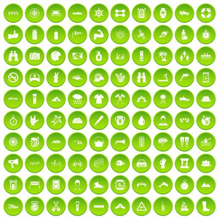 river rafting: 100 rafting icons set green circle isolated on white background vector illustration