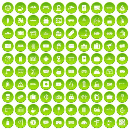 100 railway icons set green circle isolated on white background vector illustration