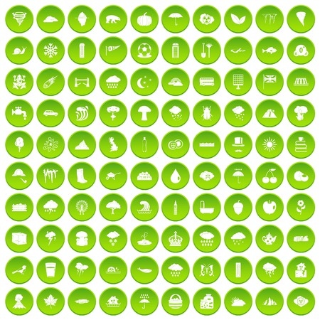 100 rain icons set green circle isolated on white background vector illustration