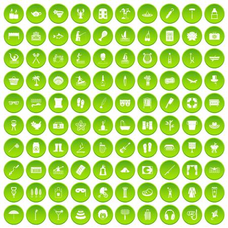 100 recreation icons set green circle isolated on white background vector illustration Illustration