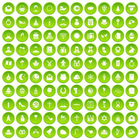 100 religious festival icons set green circle isolated on white background vector illustration