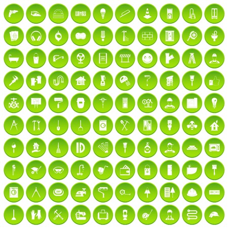 putty knife: 100 renovation icons set green circle isolated on white background vector illustration