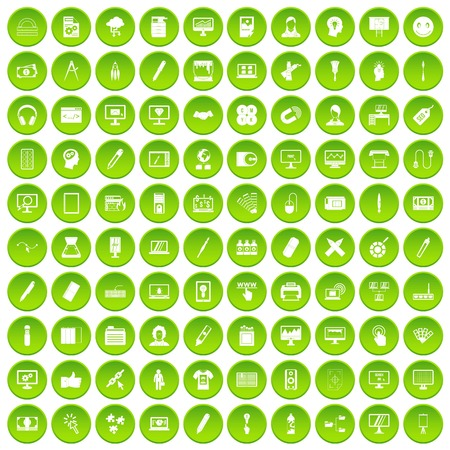 100 weather icons set green circle isolated on white background vector illustration