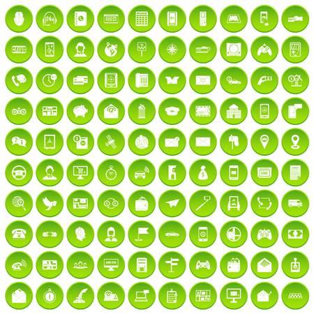 100 telephone icons set green circle isolated on white background vector illustration
