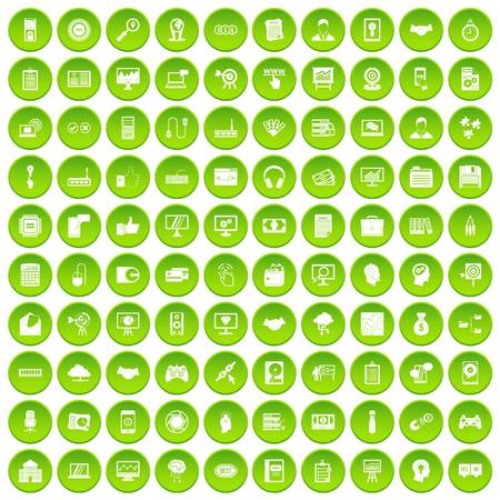 100 webdesign icons set green circle isolated on white background vector illustration Illustration