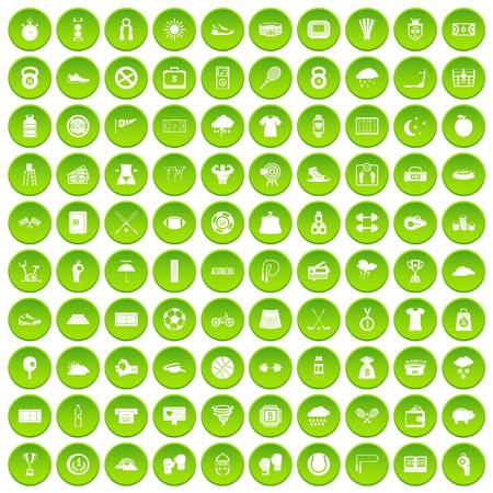 100 tennis icons set green circle isolated on white background vector illustration