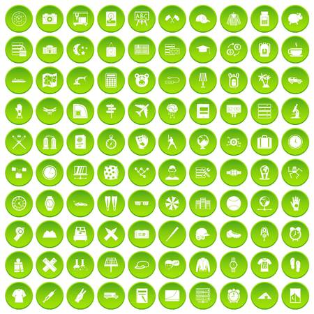 100 time icons set green circle isolated on white background vector illustration Illustration