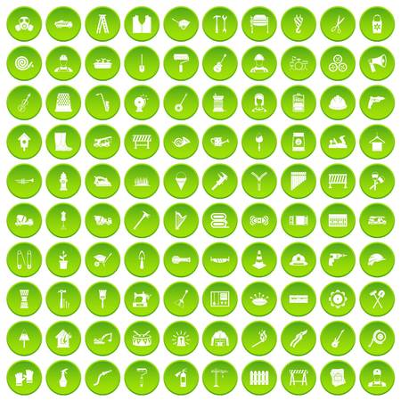 100 tools icons set green circle isolated on white background vector illustration