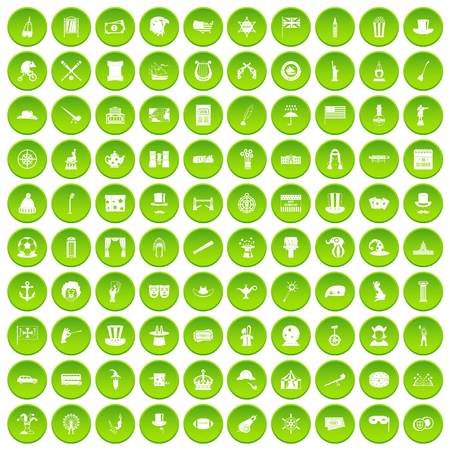 acrobatics: 100 top hat icons set green circle isolated on white background vector illustration