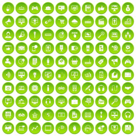 100 web development icons set green circle isolated on white background vector illustration
