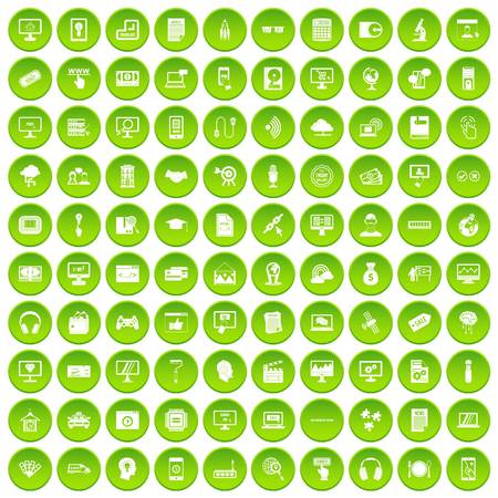 100 web and mobile icons set green circle isolated on white background vector illustration Illustration