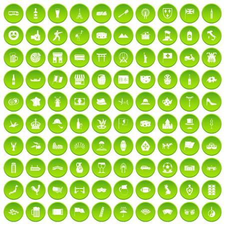 100 tourist attractions icons set green circle isolated on white background vector illustration