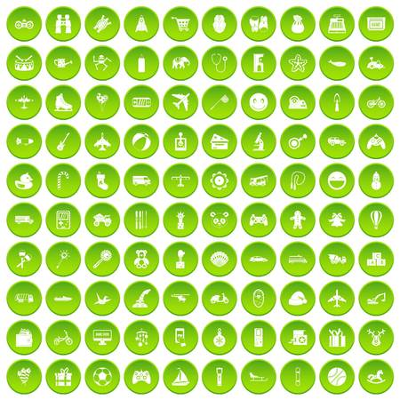 100 toys for kids icons set green circle isolated on white background vector illustration