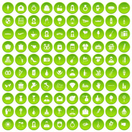 100 website icons set green circle isolated on white background vector illustration Иллюстрация