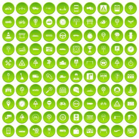 100 traffic icons set green circle isolated on white background vector illustration Illustration