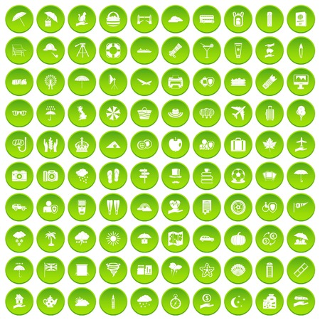 100 TV icons set green circle isolated on white background vector illustration