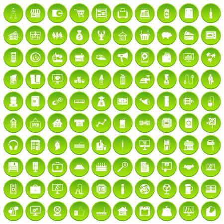 100 sales icons set green circle isolated on white background vector illustration