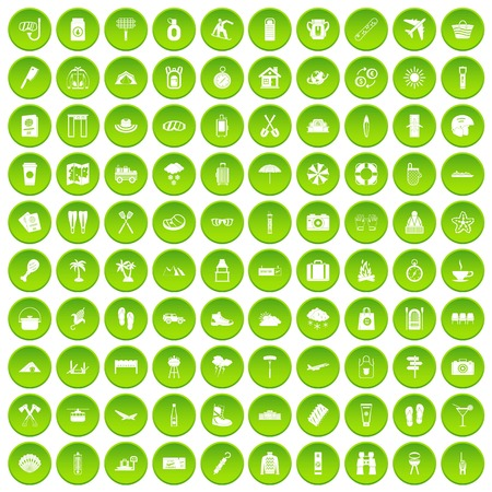 lavavajillas: 100 utensil icons set green circle isolated on white background vector illustration