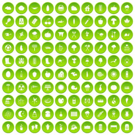 100 vacation icons set green circle isolated on white background vector illustration