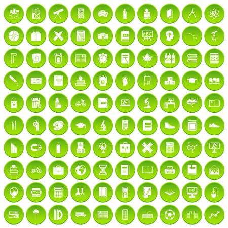 100 school icons set green circle isolated on white background vector illustration 向量圖像