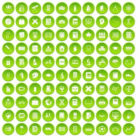 100 school icons set green circle isolated on white background vector illustration Ilustrace