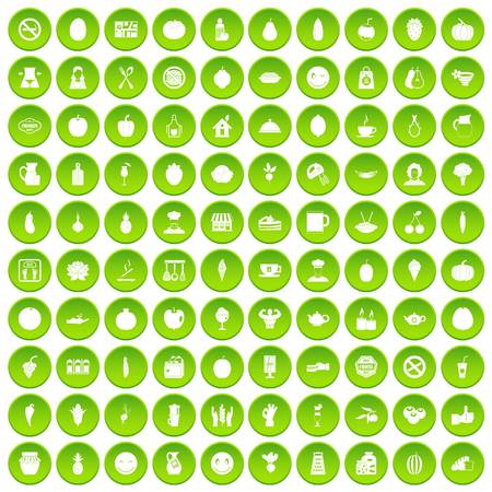 100 vegetables icons set green circle isolated on white background vector illustration Ilustrace