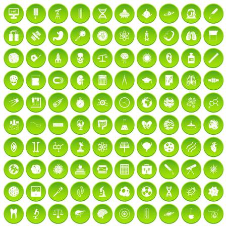 100 science icons set green circle isolated on white background vector illustration