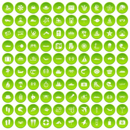 100 sea life icons set green circle isolated on white background vector illustration Illustration