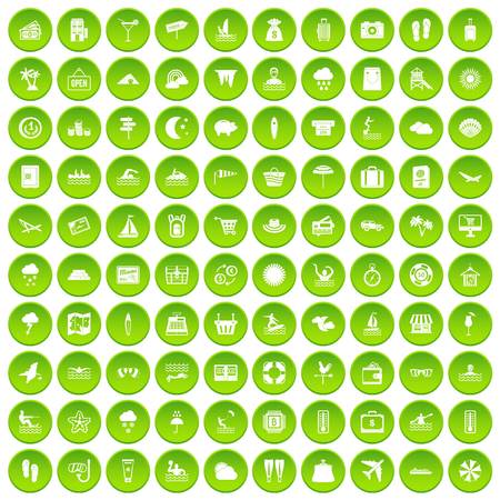 100 seaside resort icons set green circle isolated on white background vector illustration