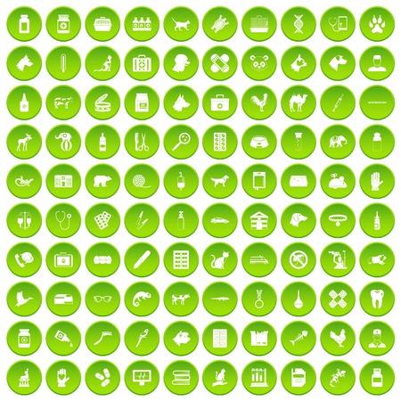100 vegetarian cafe icons set green circle isolated on white background vector illustration Illustration