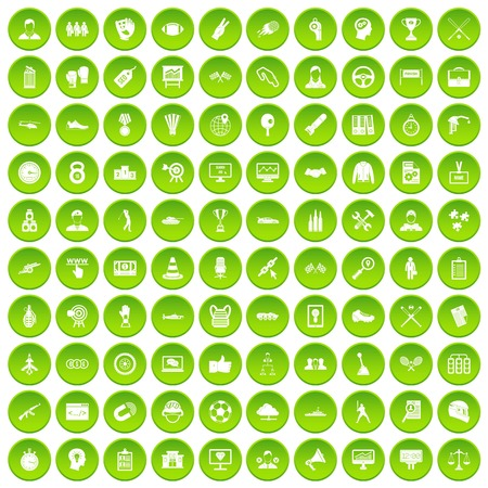 100 veterinary icons set green circle isolated on white background vector illustration