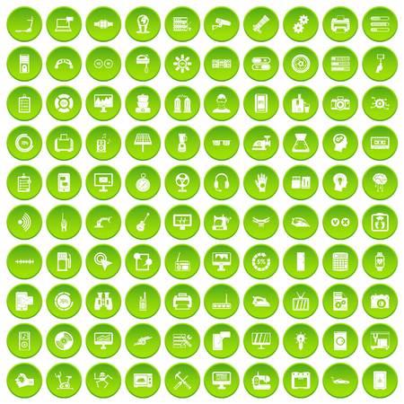 100 conjunto de círculo verde aislado en la ilustración de vector de fondo blanco Foto de archivo - 80022224