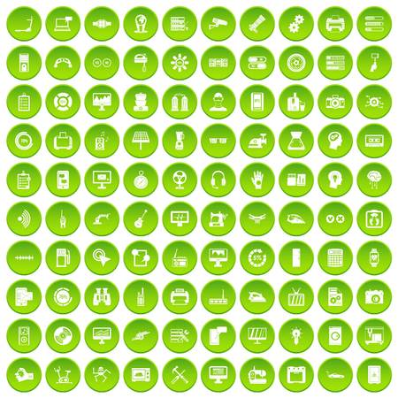 100 set green circle isolated on white background vector illustration Banco de Imagens - 80022224