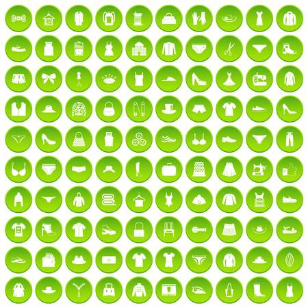 100 sewing icons set green circle isolated on white background vector illustration