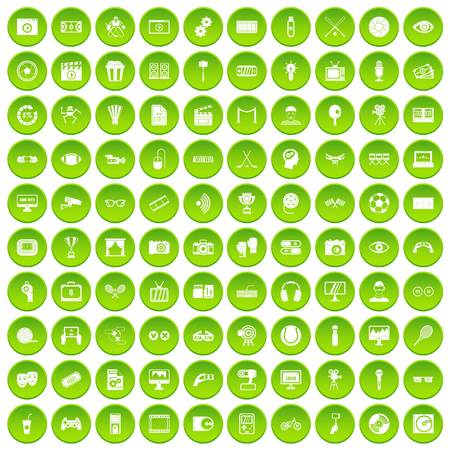 100 victory icons set green circle isolated on white background vector illustration